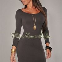 Charcoal Gray Round Neck Seamless Perfect Fit Three Quarter Sleeves Dress