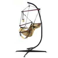 Sunnydaze Decor Tan Hanging Hammock Chair with Stand
