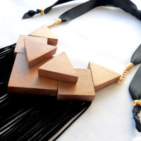 High Fashion Statement necklace with wood and black fringe