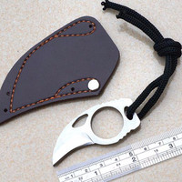 Handmade Combat Tactical Claw Hobby Survival Karambit Knife Ring Card Knife Camping Hiking Knife+leather Sheath Travel Kit