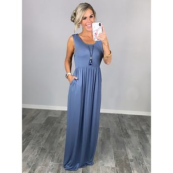 I'll Be By the Pool Maxi Dress - Blue