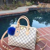 LV Tide brand men and women wild handbag travel bag White Check
