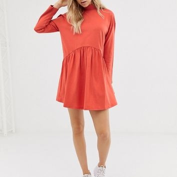 ASOS DESIGN high neck curve seam smock dress | ASOS