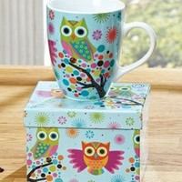 Ceramic Cheerful Owl Coffee Mug Cup with Matching Gift Box 14 Ounce