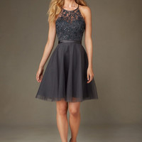 Mori Lee Bridesmaids 135 Short Tulle & Beaded Embroidery Dress