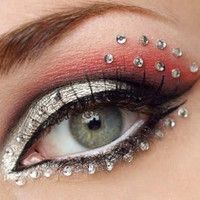 Fancy dress costume jewels/Eye stickers stud/ Witch accessory/Halloween face Mask/Pumkin decor studs/Colored Jewels/Silver Stick on Mask