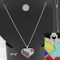 Necklace ~ Autism Awareness ~ Heart w/Rhinestone Accents