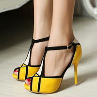Color Block Black And White Yellow Ankle T Strap Stiletto Slim Heels Vintage Ladies New Fashion Summer Sandals Shoes Woman 2013
