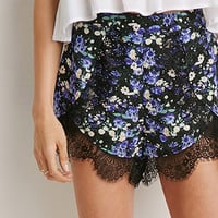 Lace-Trimmed Floral Shorts