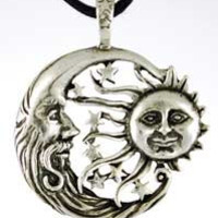 Celestial Howling Moon Amulet Pendant Necklace Wicca Crescent Moon Sun unisex guys girls