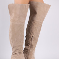 "Breckelle Suede Cuff Pointy Toe Block Heeled Over-The-Knee Boots Knee High Boots Heel Height: 3"" Shaft Length: 23.25"" (unfold cuff), 19"" (folded cuff) (including heel) Top Opening Circumference: 15"" Gray & Beige & Black"