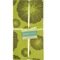 Fair Trade Cotton Table Napkins from Bali  - Set of 4 Green Brown Seaflower