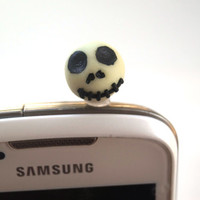 Halloween Jack Skellington  Nightmare Before Christmas Polymer Clay, Cellphone Dust Plug Glow in The Dark