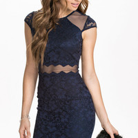 Navy Mesh Cut-Out Lace Bodycon Dress