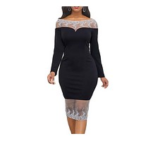 felainse29 Explosive one-shoulder lace stitching split party dress