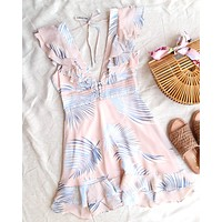 Beach Please Leaf Mini Ruffle Dress in Pink