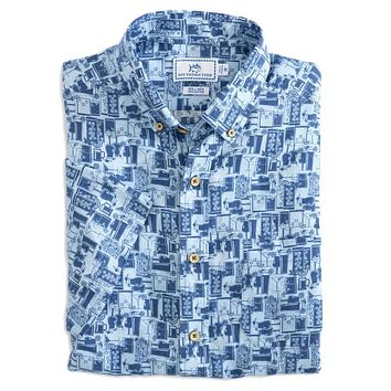 Happy Hour Short Sleeve Button Down Sport Shirt by Southern Tide