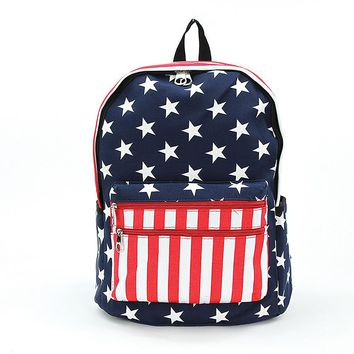 Stars and Stripes USA Flag Print Vinyl Backpack Book Bag