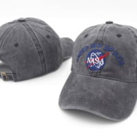 Gray NASA I Need My Space Embroidered Cotton Baseball Sports Cap Hat