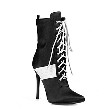 Women's Pointed Toe Stiletto Heel Sexy Boot in Black