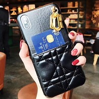 DIOR New fashion leather couple letter accessories protective cover phone case Black