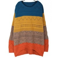 Candy Color Loose Blue Round Neck Knitting Women Free Size Sweater @A157b