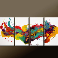 Abstract Art Painting on Canvas 4pc 60x30 Contemporary Original Modern Art by Destiny Womack  - dWo -  On the Wild Side