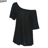 Women 2 Colors Off The Shoulder Split Side Casual Short Sleeve Brief T-shirt 2016 Summer Fashion New Sexy Loose Slim Solid Tops