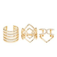 EMBELLISHED CAGED CHEVRON RINGS