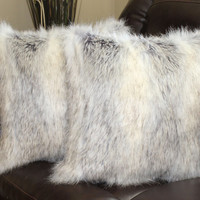 Canadian Fox Stone Faux Fur 18 x 18 in. Throw Pillow  - Set of 2