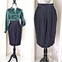 Black silk skirt  XS 3 / 4 / vintage 80s pencil skirt / high waist / silky / sexy / classy