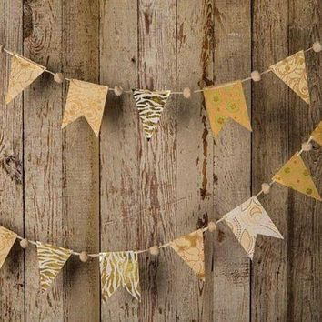 BLOWOUT Gold Paper Small Pennant and Flag Banner (9.5 Feet Long)