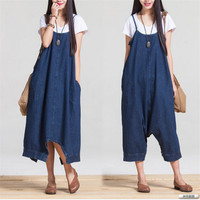 Johnature 2016 Spring And Summer Fashion Loose Big Yards Conjoined Denim Strap Casual Loose Waist Woman Pants Rompers