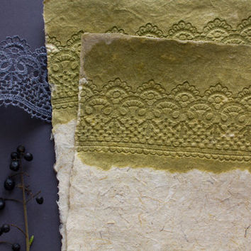 Handmade paper - Decorative paper - Art paper - Lace paper - Eco friendly paper - Card making (#21gl)