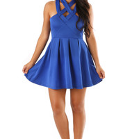 Strapped To Perfection Dress: Royal Blue