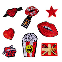 1 PCS Sewing Sequins Embroidery Patches for Clothing Free Shipping Love Stars Lips Decoration Parches Bordados Cloth Patch