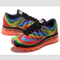 NIKE Trending AirMax Toe Cap hook section knited Fashion Casual Sports Shoes Rainbow color blue hook (orange soles)