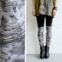Bike Short Leggings - Distressed Jersey Faux Over the Knee layers