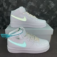 Morechoice Tuhz Nike Air Force 1 Mid Sneakers Velcro Casual Skaet Shoes 366731-909