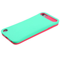 iPod Touch 5th Gen Turquoise Hot Pink Card Wallet Hard & Soft Rubber Hybrid Case