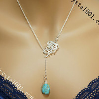 Sterling silver lariat turquoise amethyst stone flower necklace