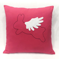Color Choice. When Rabbit Flies In Christmas Decorative Red Pillow Cover Cushion Cover. Cute Children Room Decor. Baby Shower Gift