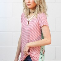 Strappy Striped + Floral Back Top {Mauve}