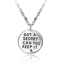 Drop Shipping Pretty Little Liars necklace Got A Secret Can You Keep It letters silver color pendant jewelry for men and women