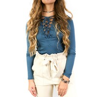Teal Bay City Lace Up Top