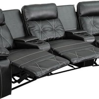Reel Comfort Series 3-Seat Reclining Leather Theater Seating Unit with Curved Cup Holders