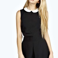 Macey Woven Collar Contrast Playsuit