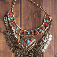 Find Me In The Garden Gold Coin Bib Necklace