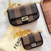 Fendi New fashion stripe canvas chain shoulder bag crossbody bag two piece suit