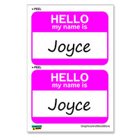 Joyce Hello My Name Is - Sheet of 2 Stickers